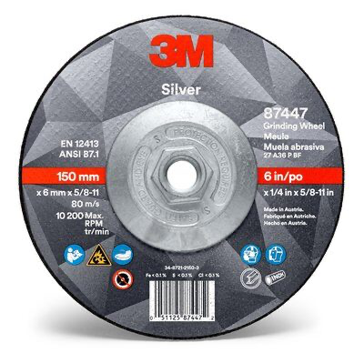 3M(TM) Silver Depressed Center Grinding Wheel 87447, T27 6 x 1/4