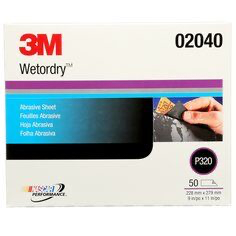 3M(TM) Wetordry(TM) Abrasive Sheet, 02040, 9 in x 11 in, P320, 5