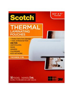 Scotch(TM) Thermal Laminating or Lamination Pouches 5 mil TP5854