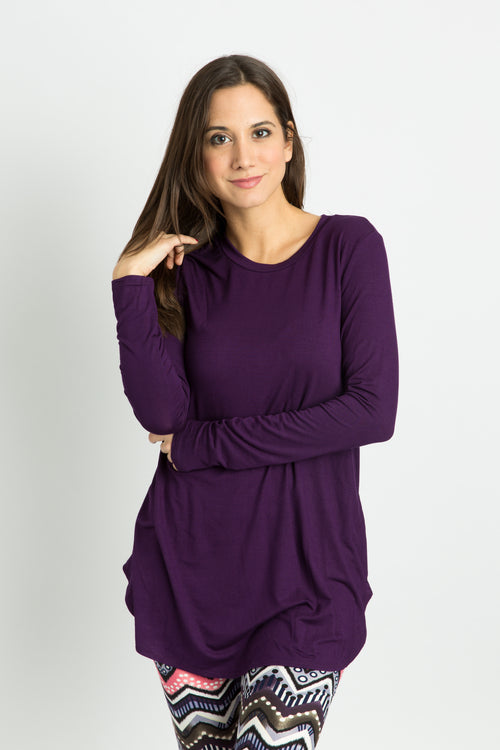 Long Sleeve Top: Eggplant Purple