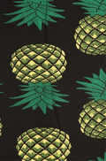 zoom up long maxi skirt, ankle length, one size; print design with vertically arranged yellow pineapples with green crown on black fabric. Super soft, stretchy, versatile, great for summer and vacations!