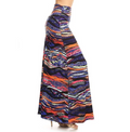 side view long maxi skirt, ankle length, one size; print design in a colourful abstract print. Super soft, stretchy, versatile, great for summer and vacations!
