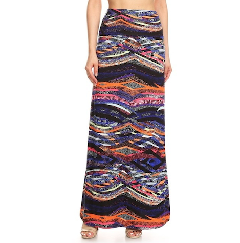 front view long maxi skirt, ankle length, one size; print design in a colourful abstract print. Super soft, stretchy, versatile, great for summer and vacations!