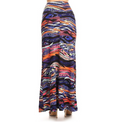back view long maxi skirt, ankle length, one size; print design in a colourful abstract print. Super soft, stretchy, versatile, great for summer and vacations!