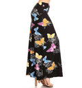 side view long maxi skirt, ankle length, one size; primarily black with pink, yellow, blue, and orange butterflies and delicate white floral outline. Super soft, stretchy, versatile, great for summer and vacations!