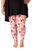 Plus size 2x, 3x, 4x, 5x. Ultra soft, super comfy leggings made with a unique, 4-way stretch, non-pilling fabric of great quality. Patterns and colours are vibrant and opaque and are not distorted when stretched and worn. This pattern is a super cute pink flamingo print with pink hearts!