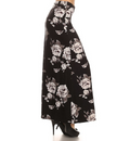 side view long maxi skirt, ankle length, one size; black base floral design with large white and grey roses . Super soft, stretchy, versatile, great for summer and vacations!