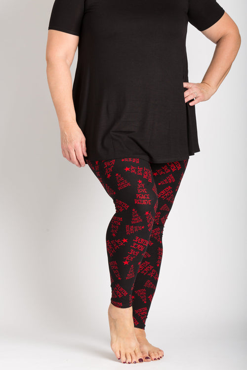 Ultra soft, super comfy leggings made with a unique, 4-way stretch, non-pilling fabric of great quality. Patterns and colours are vibrant and opaque and are not distorted when stretched and worn. This pattern is a beautiful black base with a red lettering in the following holiday words; joy, love, peace, believe.