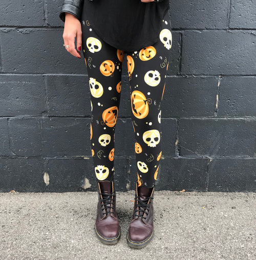 Super soft, ultra stretchy, very comfortable, high waisted, non-pilling leggings in a super fun Halloween print that fits kids 3T, adults one size, and plus sizes 2X, 3X, 4X, 5X - this design has a black background with fun skulls and laughing pumpkins! Spook things up this Halloween with this pattern! Feels like second skin, buttery soft, super smooth, bright vibrant prints!