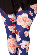 Plus size leggings for women. Ultra soft, super comfy leggings made with a unique, 4-way stretch, non-pilling fabric of great quality. Patterns and colours are vibrant and opaque and are not distorted when stretched and worn. This pattern is beautiful, pretty pink floral print with a rich navy blue background.
