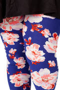 Plus size 2X, 3X, 4X, 5X leggings with beautiful, pretty pink floral print with a rich navy blue background.