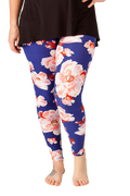 Ultra soft, super comfy leggings made with a unique, 4-way stretch, non-pilling fabric of great quality. Patterns and colours are vibrant and opaque and are not distorted when stretched and worn. This pattern is beautiful, pretty pink floral print with a rich navy blue background.
