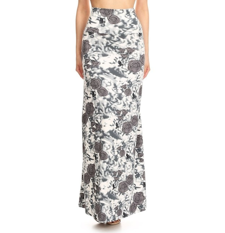 front view long maxi skirt, ankle length, one size; gorgeous floral design with white and grey roses and white and grey abstract swirly background. Super soft, stretchy, versatile, great for summer and vacations!