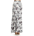 back view long maxi skirt, ankle length, one size; gorgeous floral design with white and grey roses and white and grey abstract swirly background. Super soft, stretchy, versatile, great for summer and vacations!