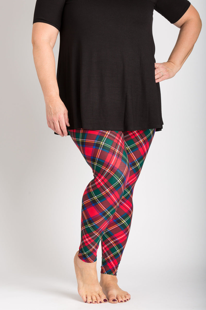 front view adults large one size Royal Stuart tartan leggings - colours of this plaid are primarily red, with hints of blue, green, white, and black and can be worn casually or dressy! Plaid design is angled for a more visually pleasing look - also helps with pattern symmetry and matching at seams.