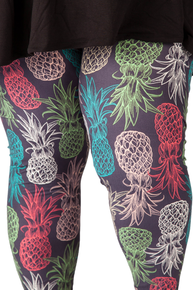 Plus size leggings. Ultra soft, super comfy leggings made with a unique, 4-way stretch, non-pilling fabric. Patterns and colours are vibrant and opaque and are not distorted when stretched and worn. This pattern is a fun pineapple print made with pretty pastel colours.