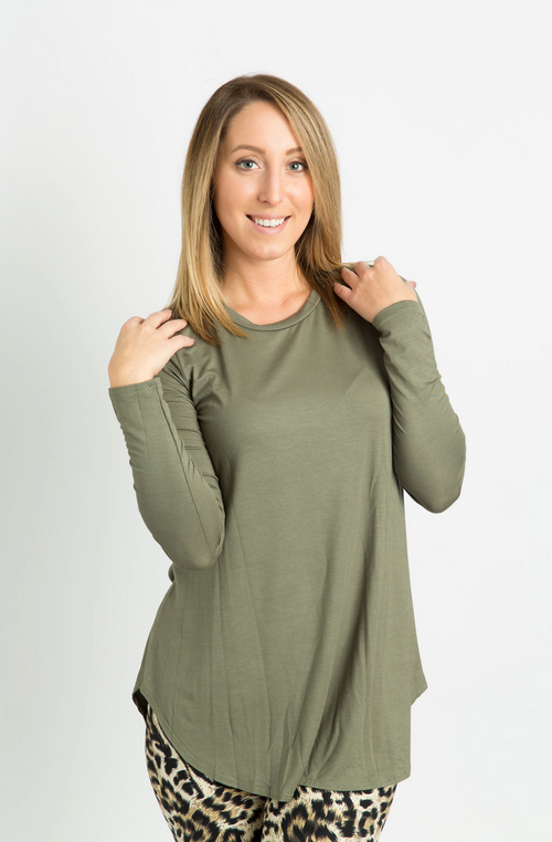 Long Sleeve Top: Olive Green