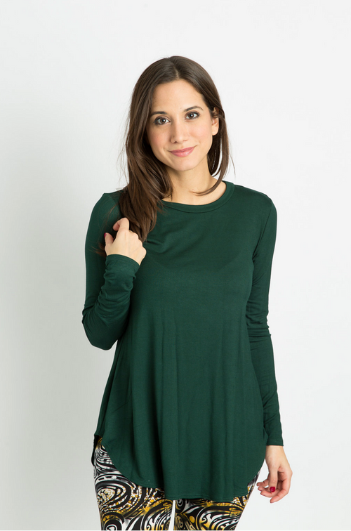 Long Sleeve Top: Forest Green