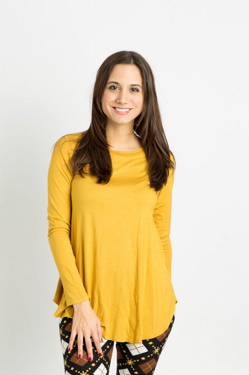 Long Sleeve Top: Mustard Yellow