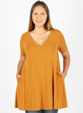 PLUS SIZE Short Sleeve V-Neck Flare Top (W/ POCKETS)