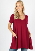 Short Sleeve V-Neck Flare Top (W/ Pockets)
