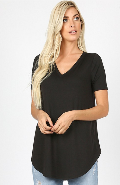 Short Sleeve V-Neck Front Back Scoop