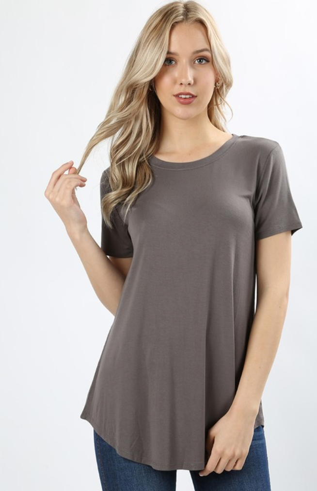 Short Sleeve Front Back Scoop Rounded Neck
