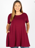 PLUS SIZE Short Sleeve Boat Neck Flared Top (WITH POCKETS)