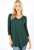 3/4 Sleeve V-Neck Front Back Scoop