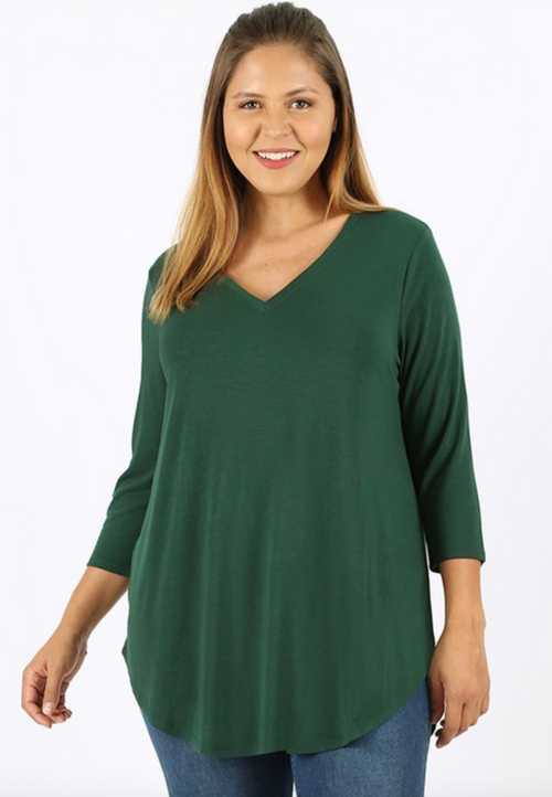 PLUS SIZE 3/4 Sleeve V-Neck Front Back Scoop