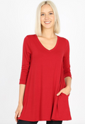 3/4 Sleeve V-Neck Flared Top (WITH POCKETS)