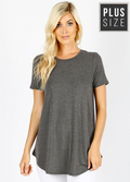 PLUS SIZE Short Sleeve Round Neck Front Back Scoop