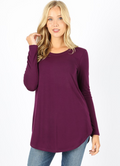 Long Sleeve Round Neck Front Back Scoop