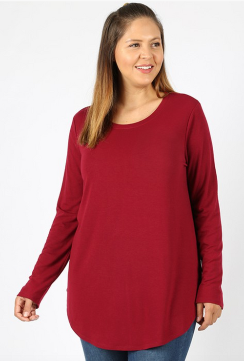 PLUS SIZE Long Sleeve Front Back Scoop