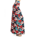 side view long maxi skirt, ankle length, one size; gorgeous tropical floral design with large red, pink, and blue hibiscus flowers. Super soft, stretchy, versatile, great for summer and vacations!