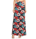 front view long maxi skirt, ankle length, one size; gorgeous tropical floral design with large red, pink, and blue hibiscus flowers. Super soft, stretchy, versatile, great for summer and vacations!
