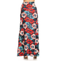 back view long maxi skirt, ankle length, one size; gorgeous tropical floral design with large red, pink, and blue hibiscus flowers. Super soft, stretchy, versatile, great for summer and vacations!