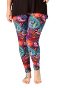 Ultra soft, super stretchy, non-pilling, opaque leggings in a groovy 70's seventies style teal and purple paisley pattern.