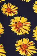 close up view long dark navy blue maxi skirt, ankle length, one size; yellow sunflower with orange centre print. Super soft, stretchy, versatile, great for summer and vacations!