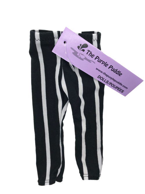 White Stripe Doll Leggings