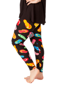 Ultra soft, super comfy leggings made with a unique, 4-way stretch, non-pilling fabric. Patterns and colours are vibrant and opaque and are not distorted when stretched and worn. This pattern is a super cute flip flop theme - perfect for summer, vacation, or just every day wear.