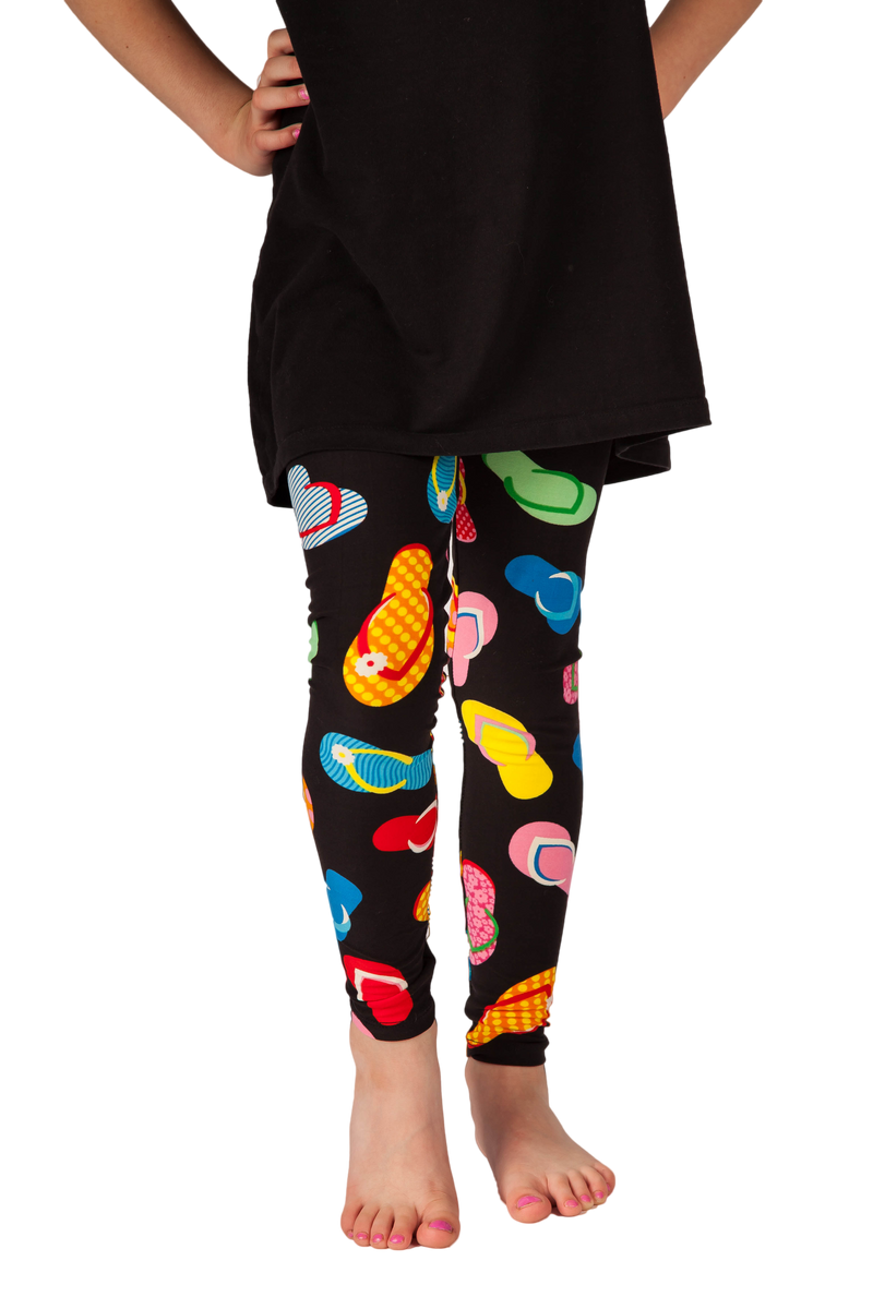 Kids leggings. Ultra soft, super comfy leggings made with a unique, 4-way stretch, non-pilling fabric. Patterns and colours are vibrant and opaque and are not distorted when stretched and worn. This pattern is a super cute flip flop theme - perfect for summer, vacation, or just every day wear.