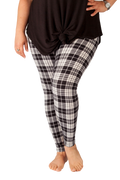 Ultra soft, super comfy leggings made with a unique, 4-way stretch, non-pilling fabric of great quality. Patterns and colours are vibrant and opaque and are not distorted when stretched and worn. This pattern is a gorgeous black and white tartan - perfect to be worn casually or formally.