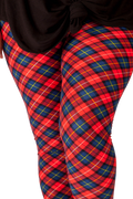 Ultra soft, super comfy leggings made with a unique, 4-way stretch, non-pilling fabric of great quality. Patterns and colours are vibrant and opaque and are not distorted when stretched and worn. This pattern is a classic red tartan with hints of blue and yellow - perfect for any occasion.