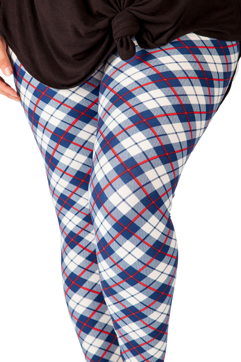 Ultra soft, super comfy leggings made with a unique, 4-way stretch, non-pilling fabric of great quality. Patterns and colours are vibrant and opaque and are not distorted when stretched and worn. This pattern is a gorgeous blue and white tartan with hints of red - perfect for any occasion.