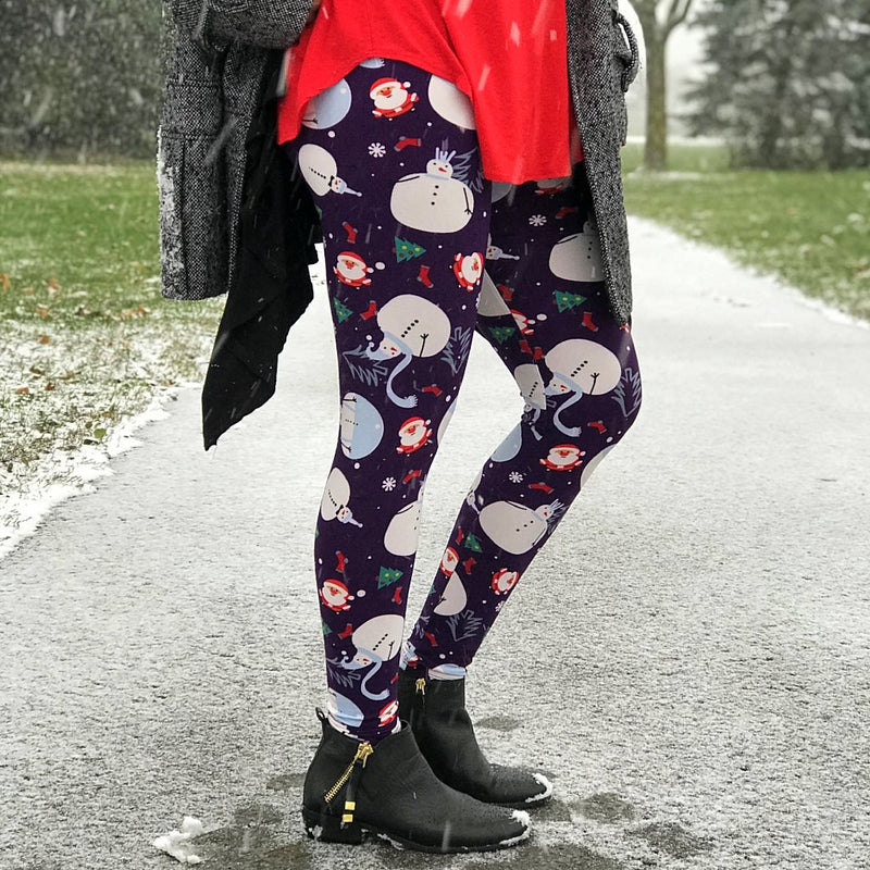 Ultra soft, super comfy leggings made with a unique, 4-way stretch, non-pilling fabric of great quality. Patterns and colours are vibrant and opaque and are not distorted when stretched and worn. This pattern is a fun navy based, Christmas print with white snowmen, Christmas trees, snow flakes, socks, and tiny Santa characters.