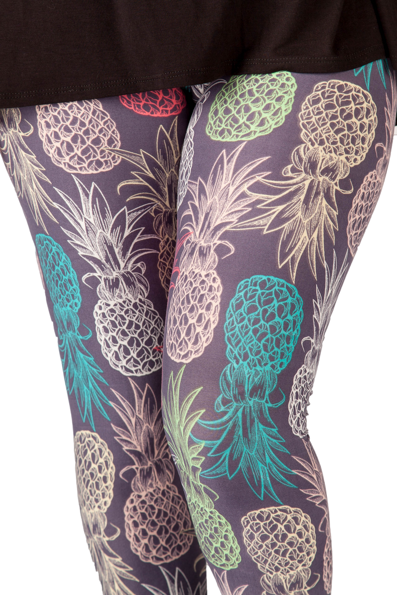 Ultra soft, super comfy leggings made with a unique, 4-way stretch, non-pilling fabric. Patterns and colours are vibrant and opaque and are not distorted when stretched and worn. This pattern is a fun pineapple print made with pretty pastel colours.