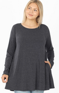 PLUS SIZE Long Sleeve Flare Top (WITH POCKETS)