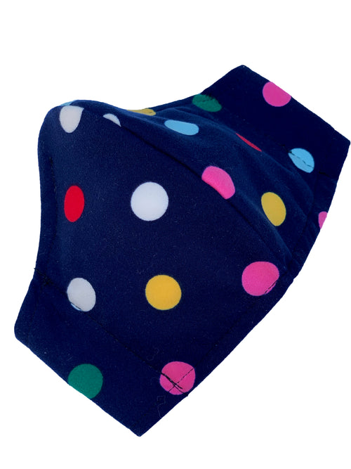rainbow polka dot face mask with navy background