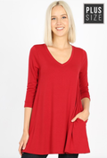 PLUS SIZE 3/4 Sleeve V-Neck Flared Top (WITH POCKETS)